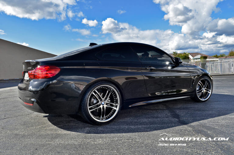 2014 BMW 428i M Package | 20″ XIX Wheels X15 Black Machined with Chrome Lip Rims | AudioCityUSA