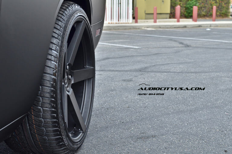 2012 Dodge Challenger matte black on 22″ Koko Kuture Sardinia 5 matte black STAGGERED