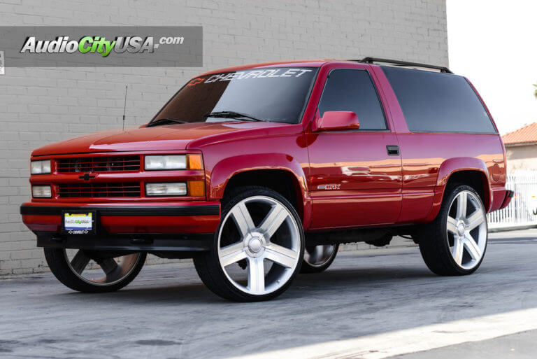 1999 Chevy Tahoe | 26″ Texas Edition Wheels Rims Silver Machine | RE Audio System | AudioCityUsa