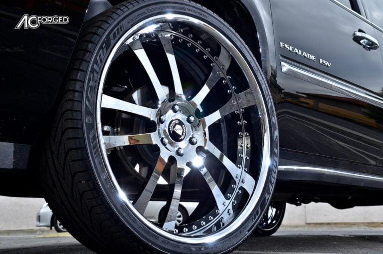 2013 Cadillac Escalade ESV | 26″ AC Forged 312 Satin Brush Face with Chrome Lip 3 Piece Forged Rims | AudioCityUSA