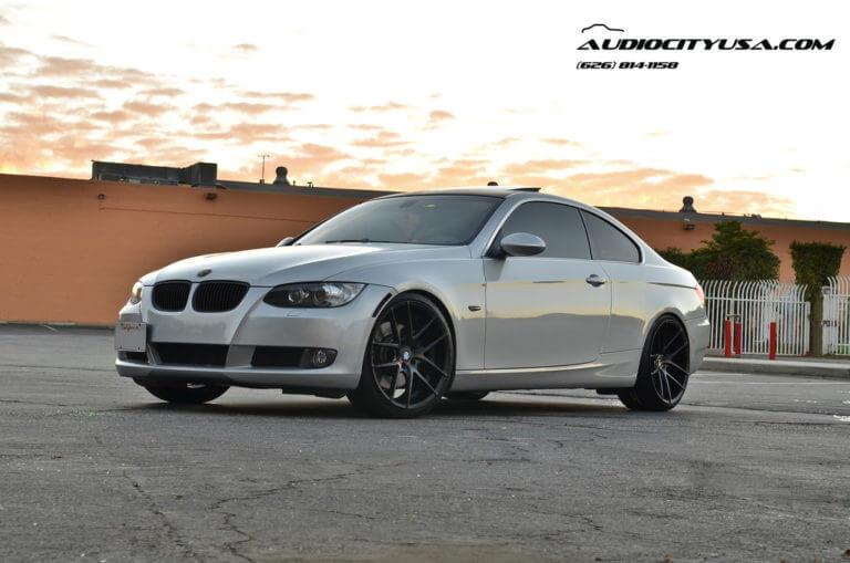 20&#8243; Niche Targa matte black &#038; machine dark tint face on 2008 BMW 335 i <---------- B&#038;G Lowering Springs -------->
