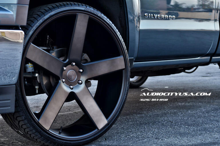 2014 Chevy Silverado Single Cab | 28″DUB Baller S116 Matte Black Machined with Double Tint