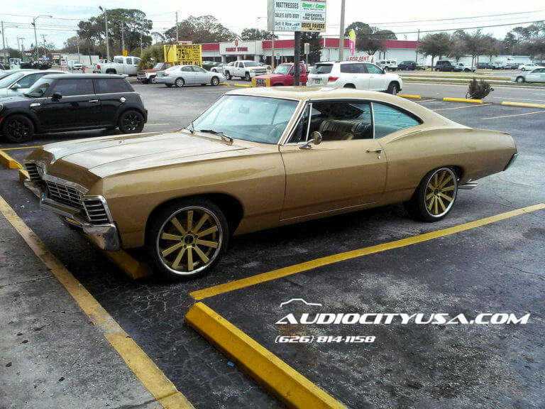 1967 Chevy Impala SS on 20″ Gianelle Santo 2 ss Gold center chrome lip. | DEEP CONCAVE