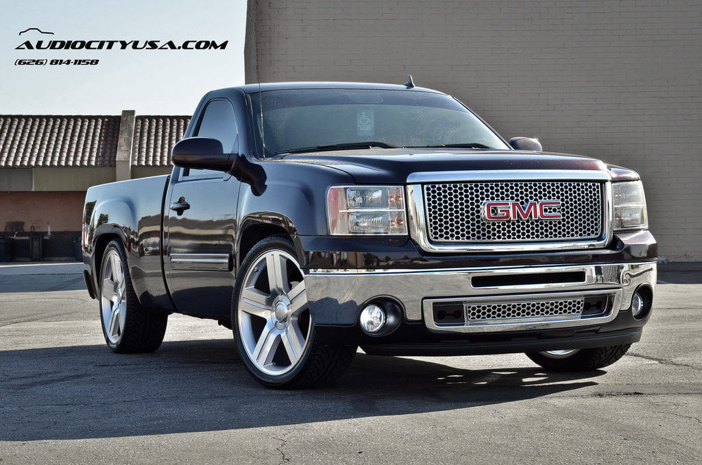 24 texas edition wheels on 2009 gmc sierra single cab lowered blogblog. Black Bedroom Furniture Sets. Home Design Ideas