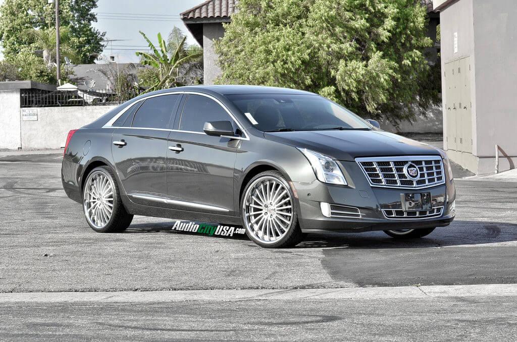 "2014 Cadillac XTS AWD on 22"" XO Luxury New York wheels brush face chrome lip"