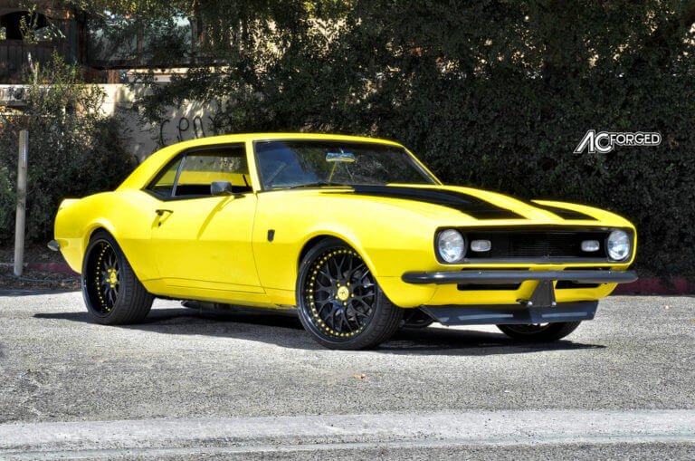 1968 Chevy Camaro on 20″ AC Forged Wheels 313 matte black face, glossy black lip, yellow accents