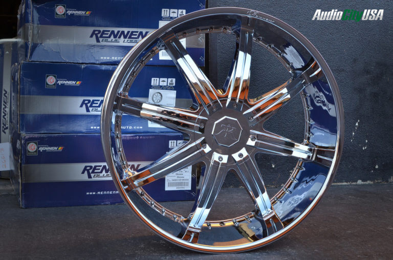 28″ Rennen Wheels Caesar Chrome 7″ LIP IN STOCK 5 lug, 6 lug, 8 lug