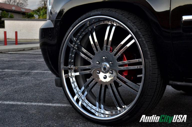 28″ Asanti Wheels AF 128 Chrome 3 piece | 2008 Chevy Tahoe | Pirelli Tires | Bell Tech Lowering Kit