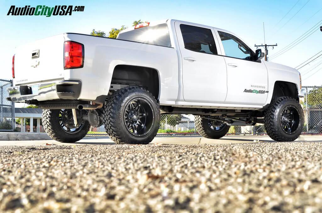 "Aftermarket Rims For Chevy Silverado 1500 >> 2015 Chevy Silverado 1500   20"" Fuel Hostage matte black   35x12.5x20 Lionclaw MT Tires   Pro ..."