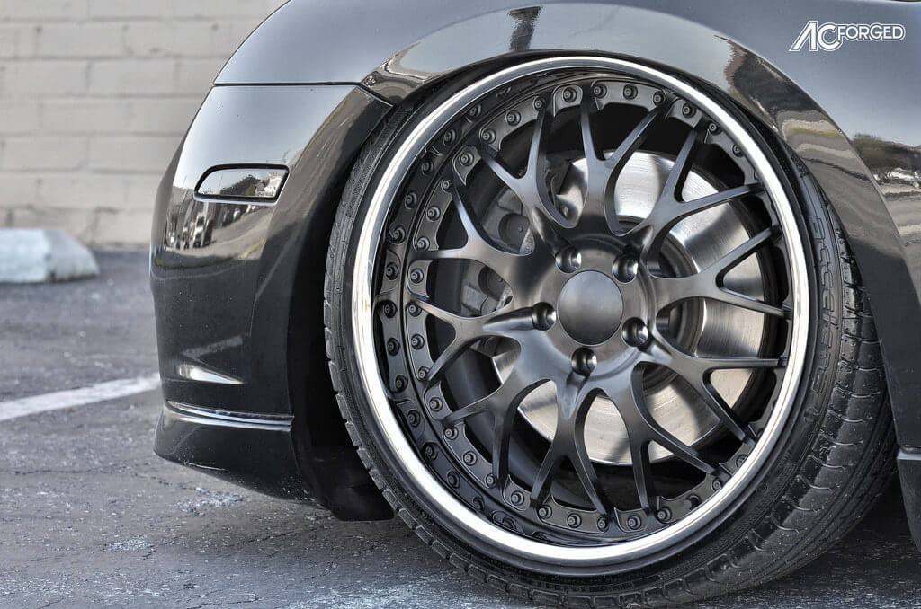 19 Quot Ac Forged Wheels 313 Matte Black Face Chrome Lip On