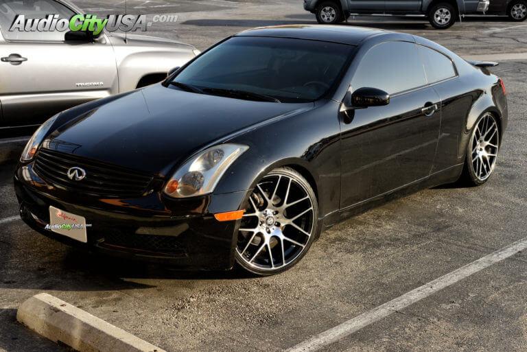 20″ Curva Wheels Rims Concepts C7 black machine on Infiniti G35 Coupe