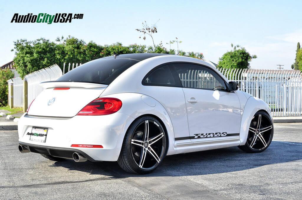 "2013 Volkswagen Beetle Turbo on 20"" Lexani R Three Black Machine lowered on H&R springs - BlogBlog"