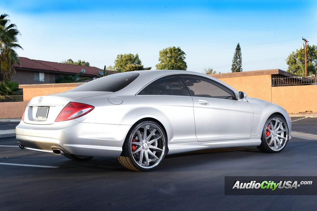 22 asanti wheels abl 5 silver machine on 2009 mercedes for Mercedes benz e350 tire size