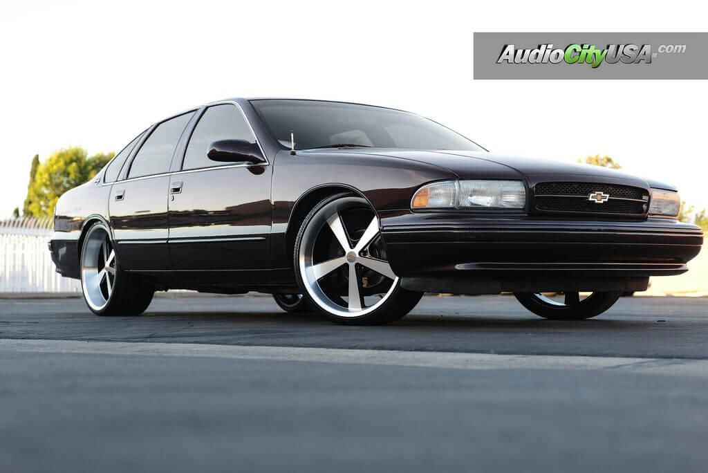 Black 08 Impala On 24s 22 Rr Stormer Replica Wheels Matte Black On