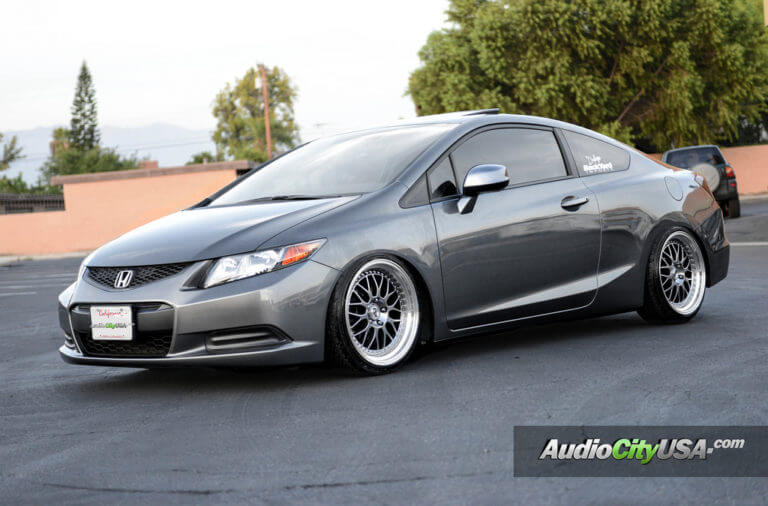 2012 Honda Civic 2 Dr on 18″ ESR Wheels SR 01 Hyper Black, machine lip