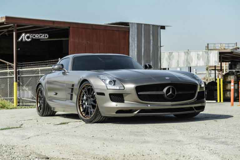 2015 Mercedes Benz SLS AMG | 20″ AC Forged Wheels ACR316 Matte Black Face with Matte Bronze Lip, Chrome Hardware Rims | Toyo Tires | H&R Springs | AudioCityUSA