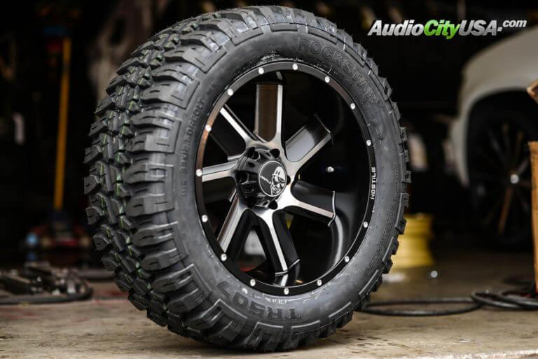 **NEW** 33×12.5×20 Rockstar MT tires Offroad Mud Tire   20×10 Hostile Wheels Switchblade Bladecut   AudioCityUsa