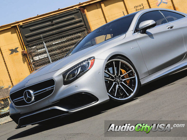 2015 Mercedes Benz S63 Coupe AMG | 22″ 2 Crave Wheels No.34 Black Machined with Chrome Lip Rims | AudioCityUSA