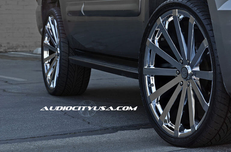 26″ Velocity VW 12 (DEEP CONCAVE) Chrome wheels on GMC Yukon.
