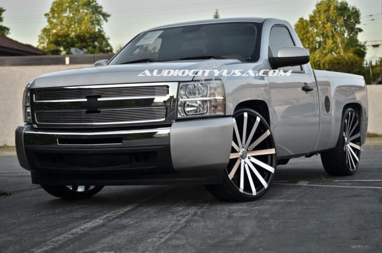 2013 Chevy Silverado Single Cab | 26″ Velocity Wheels VW 12 Black Machine Rims