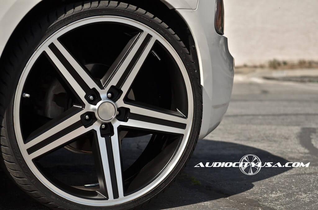 "24"" IROC Wheels Black Machined Rims Audio City USA"