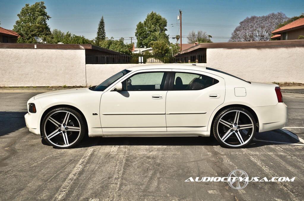 "Dodge Charger On Irocs >> 2010 Dodge Charger | 24"" IROC Wheels Black Machined Rims | AudioCityUSA - BlogBlog"