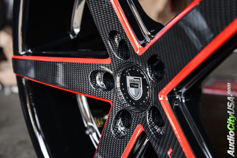 20″ & 22″ Lexani Wheels R Four Gloss black, Carbon Fiber Face, Red Accents | AudioCityUsa