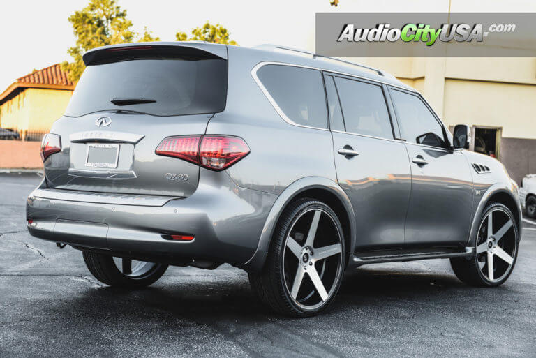2016 Infiniti QX80 | 26″ Koko Kuture Wheels Sardinia 5 Black Machine | AudioCityUsa
