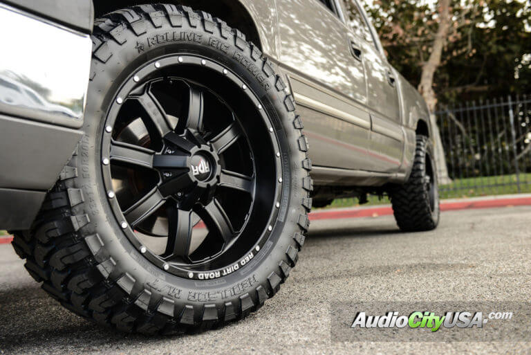 2006 Chevy Silverado | 20″ Red Dirt Road RDR Wheels RD01 Satin Black Off-Road Rims | 33×12.5×20 RBP Tires | AudioCityUSA