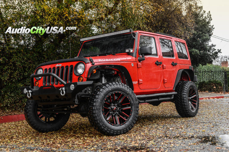 2013 Jeep Wrangler JK Rubicon | 20″ Moto Metal Wheels MO978 Black with Red Accents Rims | 4″ Rough Country Suspension Lift Kit | AudioCityUSA
