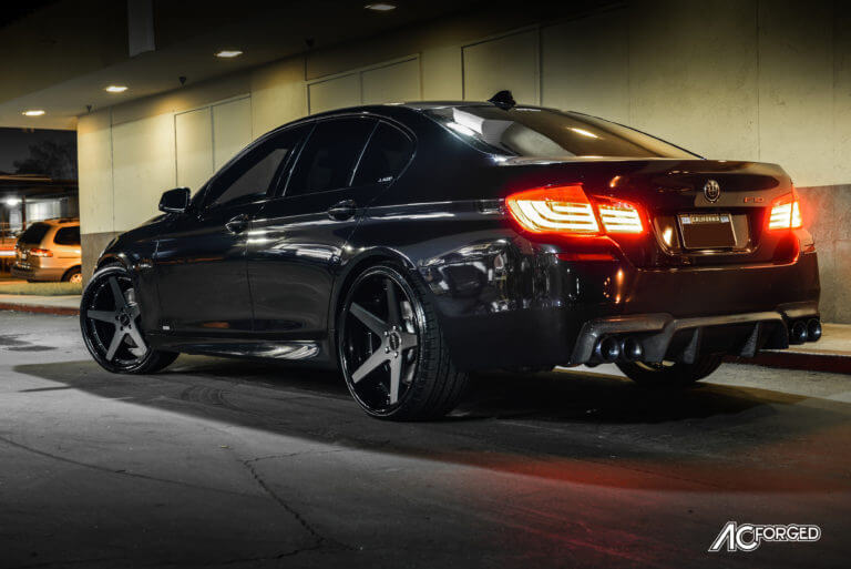 2013 BMW 550i | 22″ AC Forged Wheels ACR 405 Matte Black face with Gloss Black Lip Deep Concave 3 Pieces Rims | AudioCityUSA