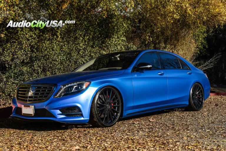 2014 Mercedes Benz S550 | 22″ Road Force Wheels RF15 Gloss Black Rims | Continental Tires | AudioCityUSA