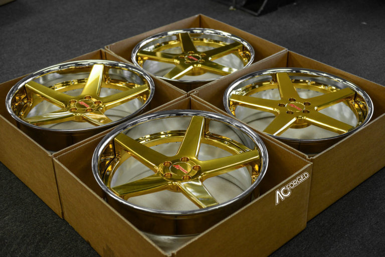 AC Forged Wheels ACR 405  |  24kt Gold, Chrome Lip  |  Mercedes Benz S 550