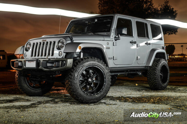 2016 Jeep Wrangler JK | 20″ RDR Off-Road Wheels RD01 Matte Black Rims | 4″ Rough Country Lift Kit | AudioCityUSA