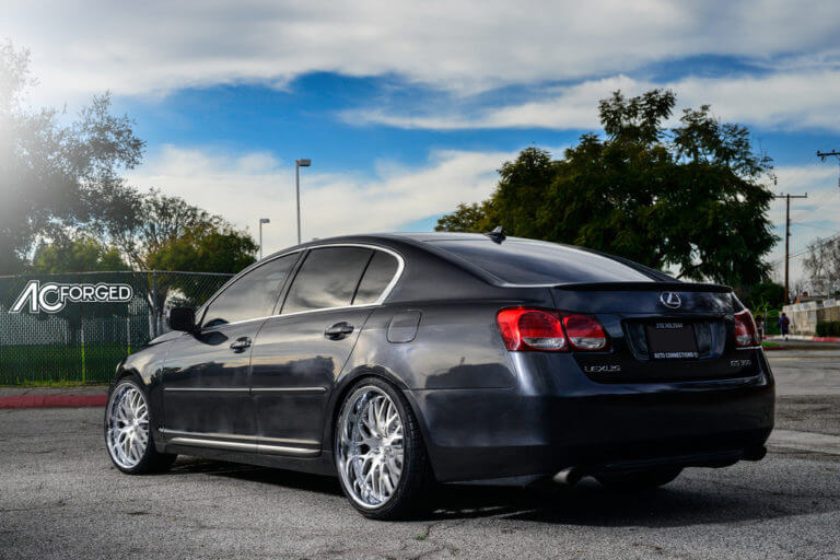 2011 Lexus GS350  |  20″ AC Forged Wheels AC313 Brush Face with Chrome Lip 3 Piece Rims | Tein Coilovers | AudioCityUSA