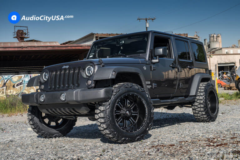 2017 Jeep Wrangler JK | 20″ Red Dirt Road Wheels RD01 Black Machined Rims | 35×12.5×20 Nitto Mud Grapplers Tires | 2 1/2″ Teraflex Suspension | AudioCityUSA