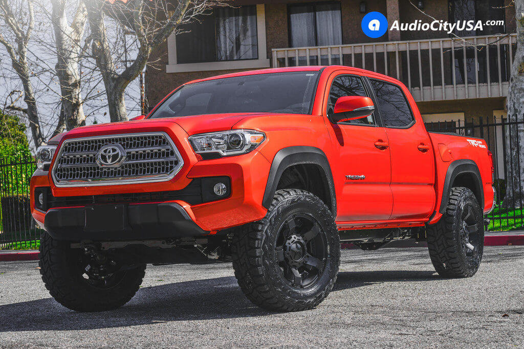 2017 toyota tacoma trd 18 xd wheels xd811 satin black off road rims toyo rt open country. Black Bedroom Furniture Sets. Home Design Ideas