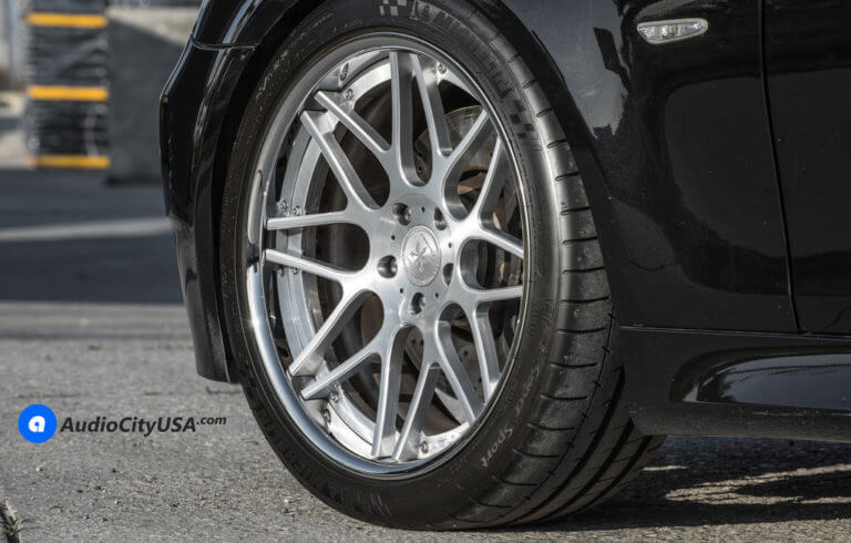 2008 BMW E60 M5  | 20″ Rennen Forged Wheels RL-M8 Silver Brushed Face with Chrome Lip Concave Rims | Michelin PSS-5 Tires | AudioCityUSA