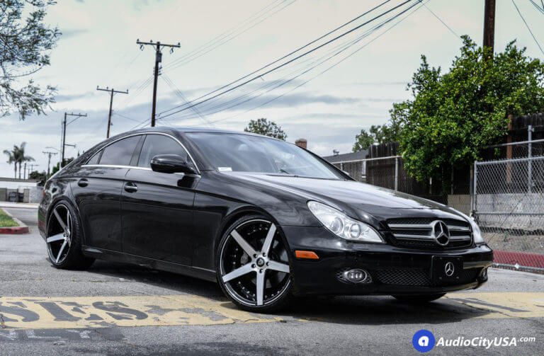 2009 Mercedes Benz CLS 550 | 20″ MQ Wheels 3226 Black with Brush Face Extreme Concave Rims | AudioCityUSA