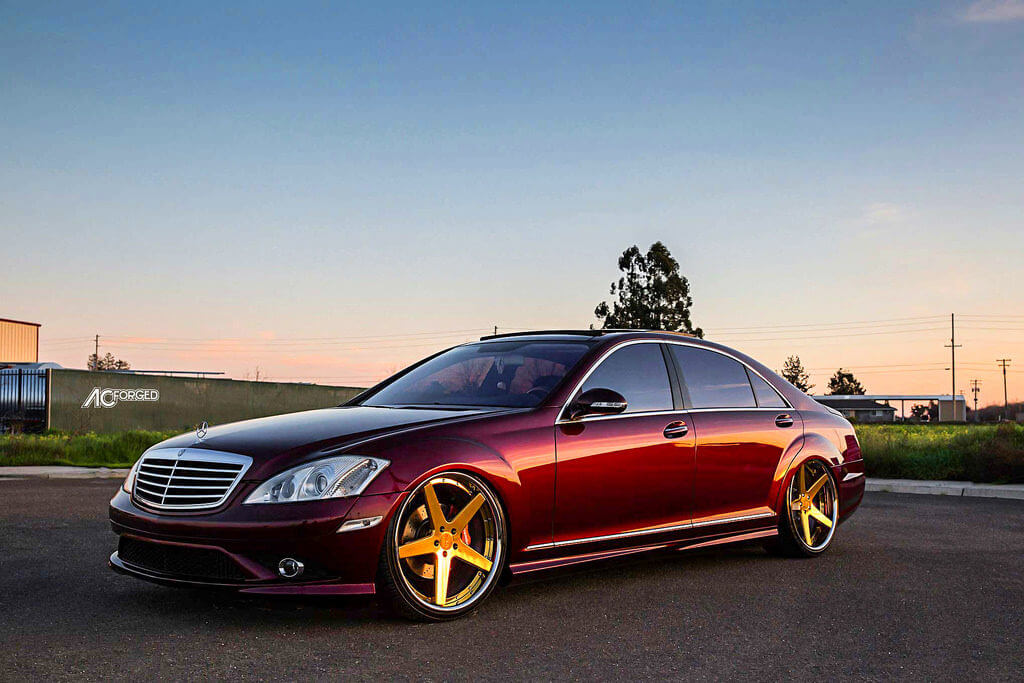 2009 Mercedes Benz S550 22 Quot Ac Forged Wheels Acr 405 Custom Gold Plated Centers With Chrome