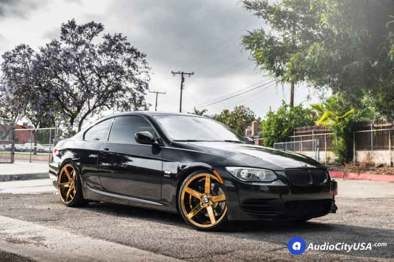 2011 BMW 335is | 20″ STR Wheels 607 Gold Platted Deep Concave Rims | AudioCityUSA