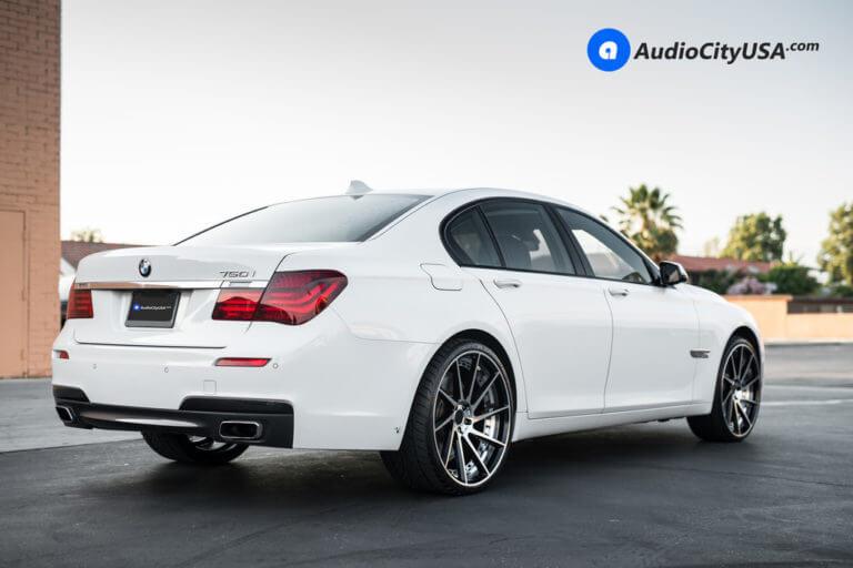 2014 BMW 750i   22″ ERW Wheels ERW-3 Black Machined Rims   AudioCityUSA
