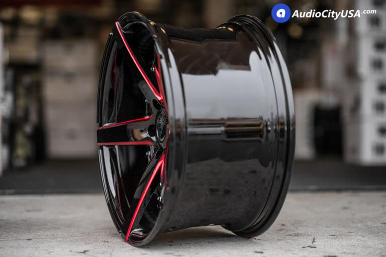 20″ MQ Wheels 3226 Gloss Black, Red Milled Accents | Deep Concave Wheels | AudioCityUsa