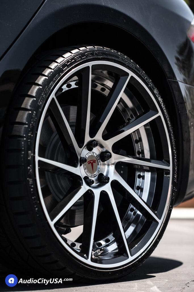 2017 Tesla Model S | 22″ ERW Wheels ERW-3 Black Machined Concave Rims | AudioCityUSA