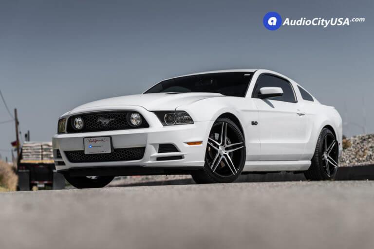 Ford Mustang 5.0 | 20″ Niche Wheels M169 Turin in Brush Silver Gloss black Windows | Eibach Lowering Springs | AudioCityUsa