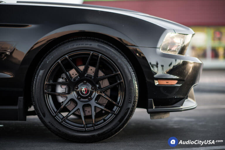 2013 Ford Mustang Wheels   19″ Curva Wheels C300 Gloss Black Deep Concave Rims   Pirelli P-Zero Tires   AudioCityUSA