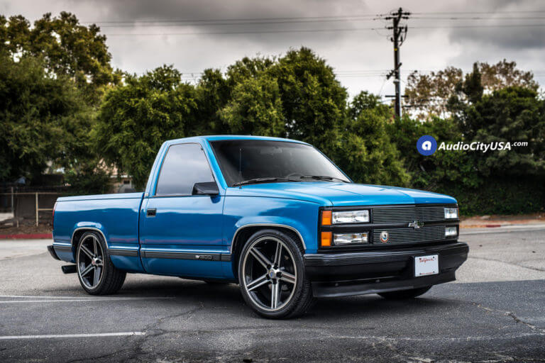 1989 Chevy Silverado 1500 Single Cab | 22″ Iroc Wheels Black Machine | AudioCityUsa | DJM Suspension