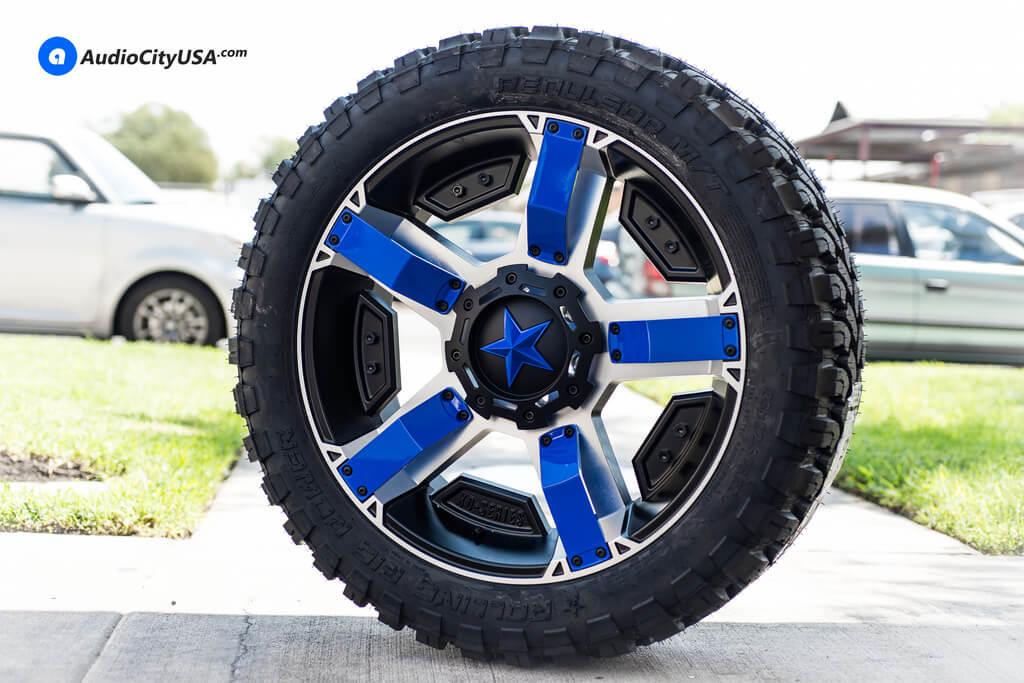 Ford F150 Rims >> 22x9.5 XD Wheels XD811 Rockstar II Black Machine Blue Inserts, Blue Star | BLG090817 - BlogBlog