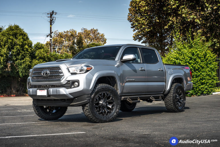 18″ Fuel Wheels D546 Assault Black Milled Rims | 33×12.5×18 Toyo Open Country RT | 2.5″ AMS Leveling Kit | 2017 Toyota Tacoma TRD 4X4
