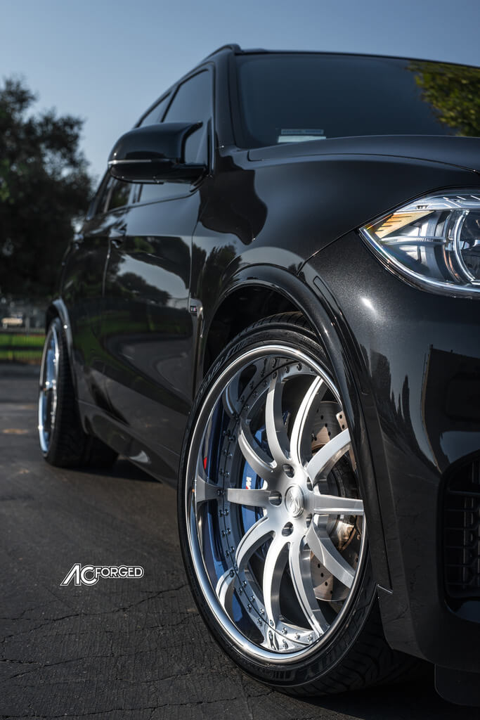 "Bmw Rims 22 Inch >> 22"" AC Forged Wheels AC320 Brushed Silver Face with Chrome Lip Rims 
